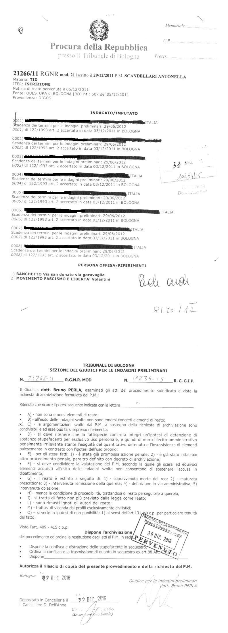 Archiviazione Banchetto Bologna
